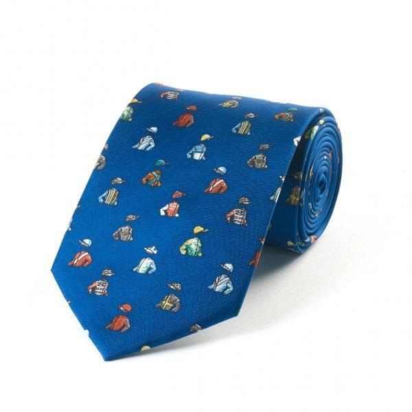 mens silk tie jockey silks blue