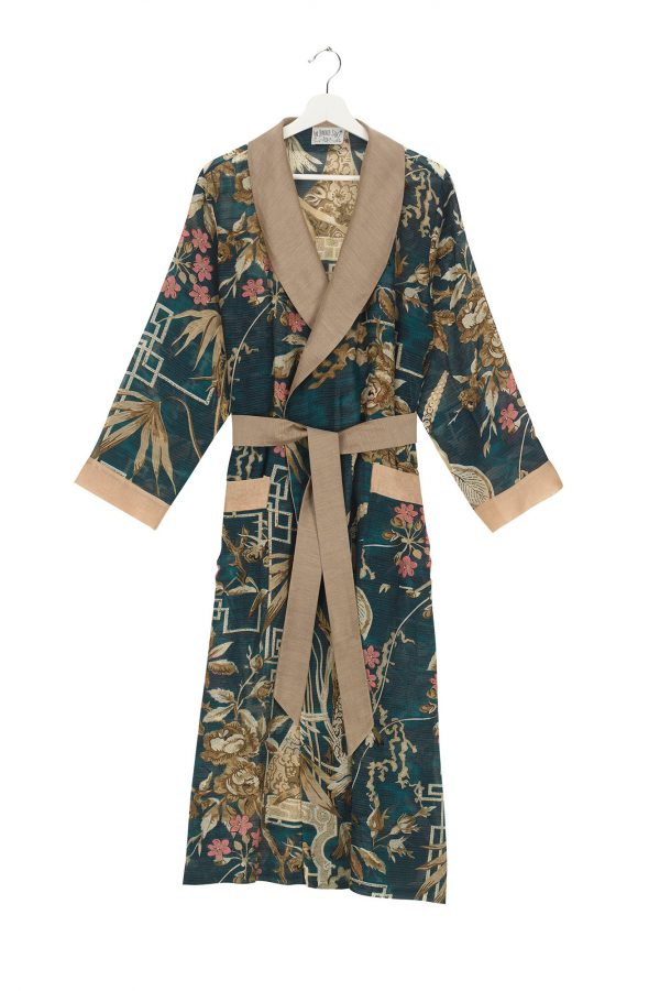 dressing gown bamboo teal