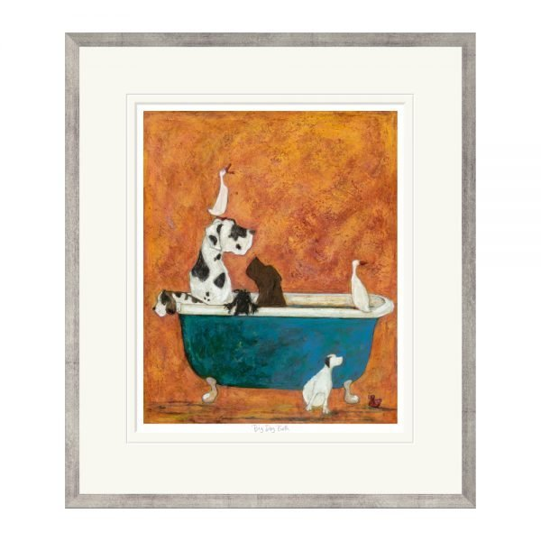 Big Dog Bath Printed Frame