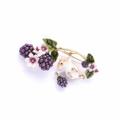 Mouse and Blackberry Brooch