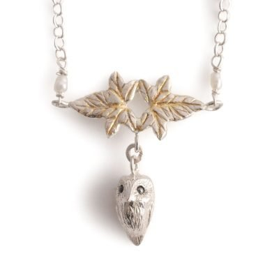 owl in ivy necklace