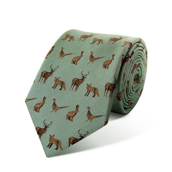 silk tie country animals